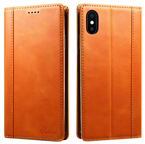 iPhone XS Max Wallet Case, SINIANL Genuine Leather Case Flip Cover with Magnetic Closure Card Slots ID Holder KickStand TPU Shockproof Case for iPhone XS Max - Khaki