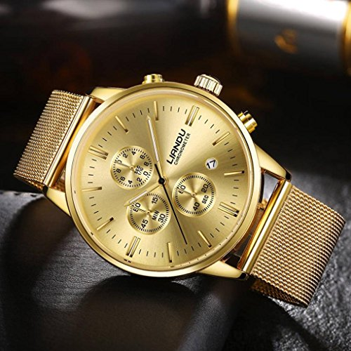 Pocciol Watches Waterproof Sport Watch Luminous Analog Quartz Business Luxury Dress Wrist Watch Casual Clock Watches for Men (Gold) by Pocciol (Image #1)