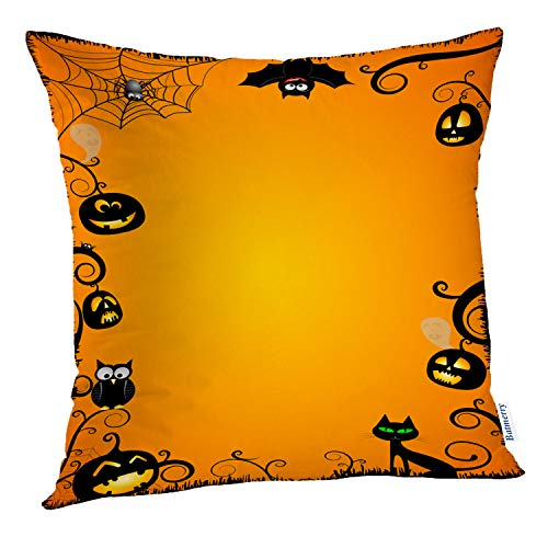 Batmerry Halloween Pillow Covers 18x18 inch,Halloween Vertical Border Banner Black Cartoon Cat Space Creepy Cute Throw Pillows Covers Sofa Cushion Cover Pillowcase