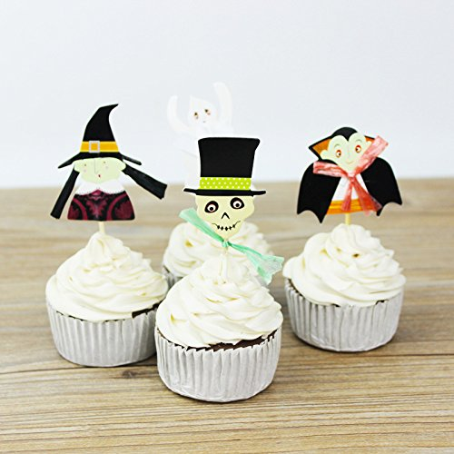 Halloween Cupcakes With Pictures (24pcs Halloween Party Cupcake Toppers Picks Mini Ghost Zombie for Cupcake Dish Decorations)