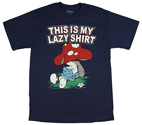 Smurf Mushroom (Freeze The Smurfs This is My Lazy Shirt Men's T-Shirt (Large))