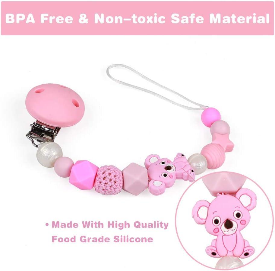 Attache Sucette pour B/éb/é Gar/çons et Filles Anneaux de dentition Raton laveur Koala Silicone Attache T/étine Soothie Clips Sucette Cha/îne Sans BPA Gris