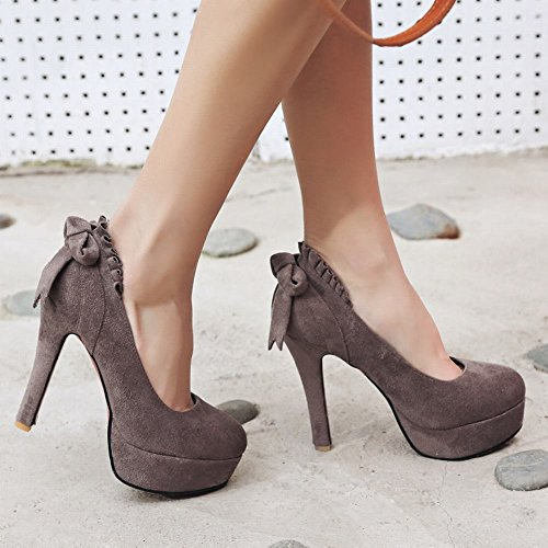 Mee Shoes Damen high heels mit Schleife runde Plateau Pumps Dunkelgrau