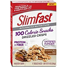 Slim Fast Advanced Nutrition 100 Calorie Snacks, Drizzled Crisps, Cinnamon Bun Swirl, 5 Count (Pack of 4) by Slim-Fast