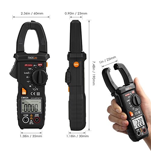 Digital Clamp Meter, Tacklife CM02A 600 Amp TRMS 6000 Counts NCV with AC Current AC/DC Voltage Test Temperature Measure Auto-Ranging Multimeter by TACKLIFE (Image #4)