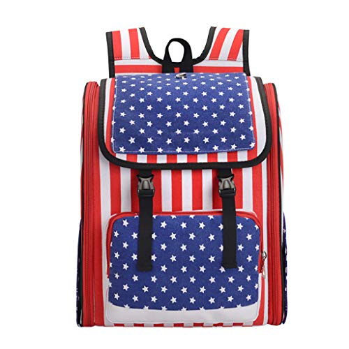 AIEason Cat Backpack, American Flag Pattern Backpack Out Portable Backpack Cat Dog Pet Bag Travel Bag Chest Bag