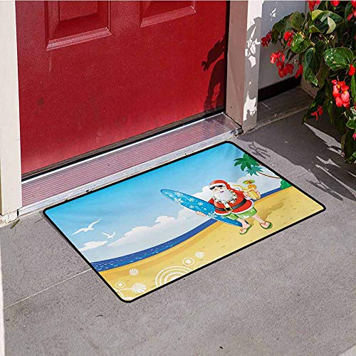 Jinguizi Christmas Inlet Outdoor Door mat Santa Claus on The Beach with Surfboard Summer Party Celebration Tropical Art Catch dust Snow and mud W35.4 x L47.2 Inch Blue Yellow