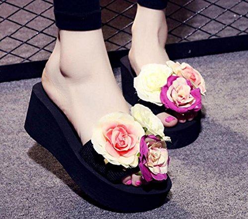 de à Chaussures 7cm CHENGXIAOXUAN à Vacances Fond Pantoufles Été Chaussures Mode Hauteur La Et à Talons de Sandales Hauts Pantoufles Tongs Muffin Hauts Femme Plage Black Talons Avec TqTUrF0