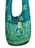 "Lovely Creations's Hippie Boho New Elephant Crossbody Bohemian Gypsy Sling Bag Shoulder Bag Purse Thai Top Zip Handmade ""Small"" Size (Blue-green)"