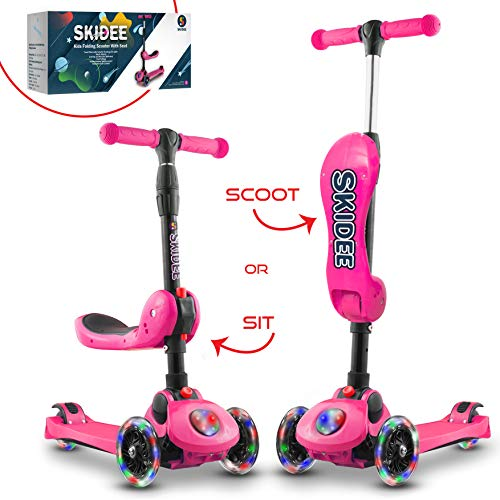Scooter For Kids with Folding Seat – 2019 NEW 2-in-1 Adjustable 3 Wheel Kick Scooter for Toddlers Girls & Boys – Fun Outdoor Toys for Kids Fitness, Outside Games, Kid Activities – Boy & Girl Toy