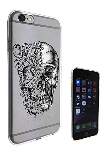 c0453 - Cool Fun Trendy skeleton floral walking dead scary skull tattoo biker skull Design iphone 6 PLUS / iphone 6 Plus S 5.5'' Fashion Trend Silikon Hülle Schutzhülle Schutzcase Gel Rubber Silicone