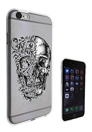 c0453 - Cool Fun Trendy skeleton floral walking dead scary skull tattoo biker skull Design iphone 6 PLUS / iphone 6 Plus S 5.5'' Fashion Trend Silikon Hülle Schutzhülle Schutzcase Gel Rubber Silicone