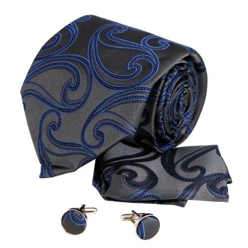 Creative Halloween Ideas (H5026 Grey Paisley Creative Gift Idea For Halloween Silk Tie Cufflinks Hanky Set 3PT By Y&G)