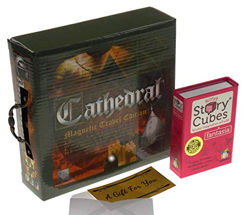 Cathedral Wood Portable Travel Strategy Board Game Bundled Rory's Story Cubes ()