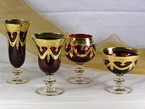 Interglass - Italy, Red Crystal Cognac Snifters Goblets, Vintage Design, 24K Gold Hand Decorated, 10 Oz, SET OF 6 by Interglass (Image #3)