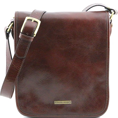 Tuscany Leather TL Messenger Two compartments leather shoulder bag Brown by Tuscany Leather