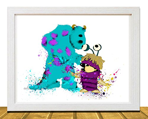 Disney Art, Monsters Inc Sully and Boo, Disney Inspired 8 X 10 Wall Art, Watercolor Effect Disney Poster, Nursery Art, Unframed -(Available in 11 X 14)