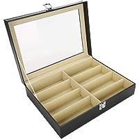 Box Organizer, Bril Opbergdoos Transparante Cover Stofdicht en Vochtbestendig 8 Grids Transparante Zonnebril…