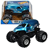 Hot Wheels Year 2016 Monster Jam 1:24 Scale Die Cast Metal Body Official Truck - Blue NEA New Earth Authority N.E.A. POLICE (DJW96) with Monster Tires, Working Suspension and 4 Wheel Steering