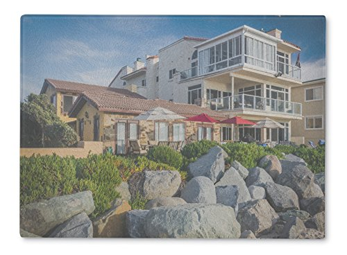 Gear New Glass Cutting Board and Serving Dish, Beachfront Homes In Imperial Beach California, For Kitchen and Dining, 15x11, (Imperial Glass Block)