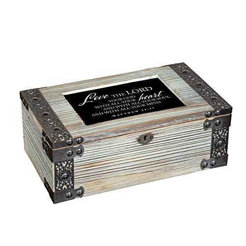 Love Lord All Heart Soul Mind Metal Lattice Celadon Green Music Box Plays How Great Thou Art Dark Green Music Box