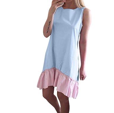 Damen Sommerkleid URSING Frauen Nähen Ärmellos Trägerkleid Strandkleid  Festliche kleider Fischschwanz Elegant Party Kleid Freizeitkleid Minikleid 942c2a45b7