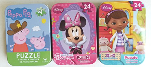 3 Collectible Girls Mini Jigsaw Puzzles in Travel Tin Cases: Disney Kids Minnie Mouse Peppa Pig Doc McStuffins Gift Set Bundle (24 Pieces)
