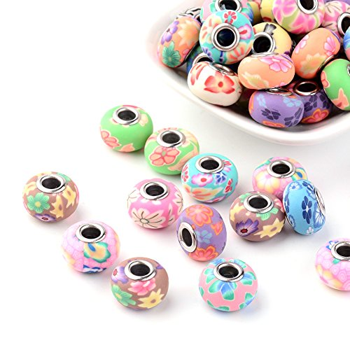 Kissitty 100-Piece Mixed Style Flower Printed Polymer Clay European Beads with Platinum Plated Brass Core 15~16mm Dia. Large Hole Charms Beads Spacers for DIY Jewelry Making (Hole Jewelry)