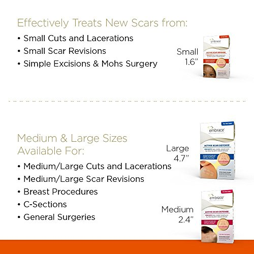 Embrace Scar Treatment, Silicone Sheets for New Scars with Active Scar Defense, Small 1.6 inch Sheets, 3 Count, Initial Half Treatment (30 Day Supply) by Embrace (Image #6)'