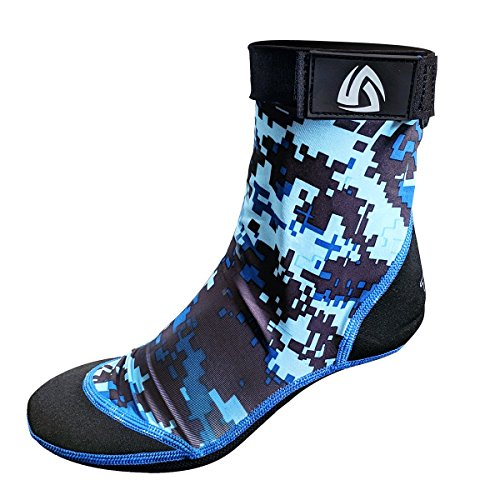 Tilos Sport Skin Socks for Adults and Kids, Protect Against Hot Sand & Sunburn for Water Sports & Beach Activities (Digital Blue, M - Size 8-9)