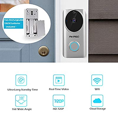 AKASO Video Doorbell, Wi-fi Wireless Smart Doorbell Camera Work with Alexa, HD 720P 100% Wire-Free Rechargeable Batteries Powered, Cloud Storage, Two-Way Audio, PIR, Night Vision, Free Phone APP