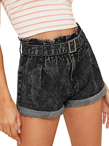 Milumia Women's Casual High Waisted Hemming Casual Summer Denim Jean Shorts Pockets Blue-12 XS