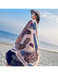 THSTVweijin Ms. Scarf Cotton Travel Scarf Vacation Sunscreen Scarf Air Conditioning Large Shawl Beach Towel THSTVweijin (Color : Leather Pink)
