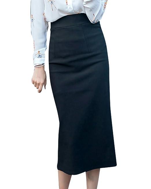14b259625b ZiXing Falda Midi Lápiz Tallas Grandes Mujeres Falda Larga con Cintura  Elástica  Amazon.es  Ropa y accesorios