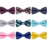 AVANTMEN 9 PCS Pre-tied Adjustable Bow Ties Set for Men Mixed Color Assorted Boy's Ties (9 Pack, Style 7)