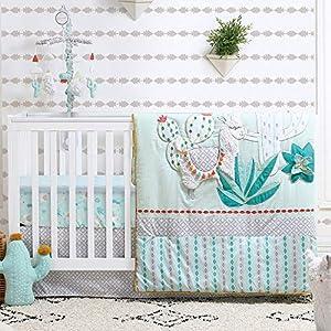 Little Llama 5 Piece Mint Green and Grey Baby Crib Bedding Set