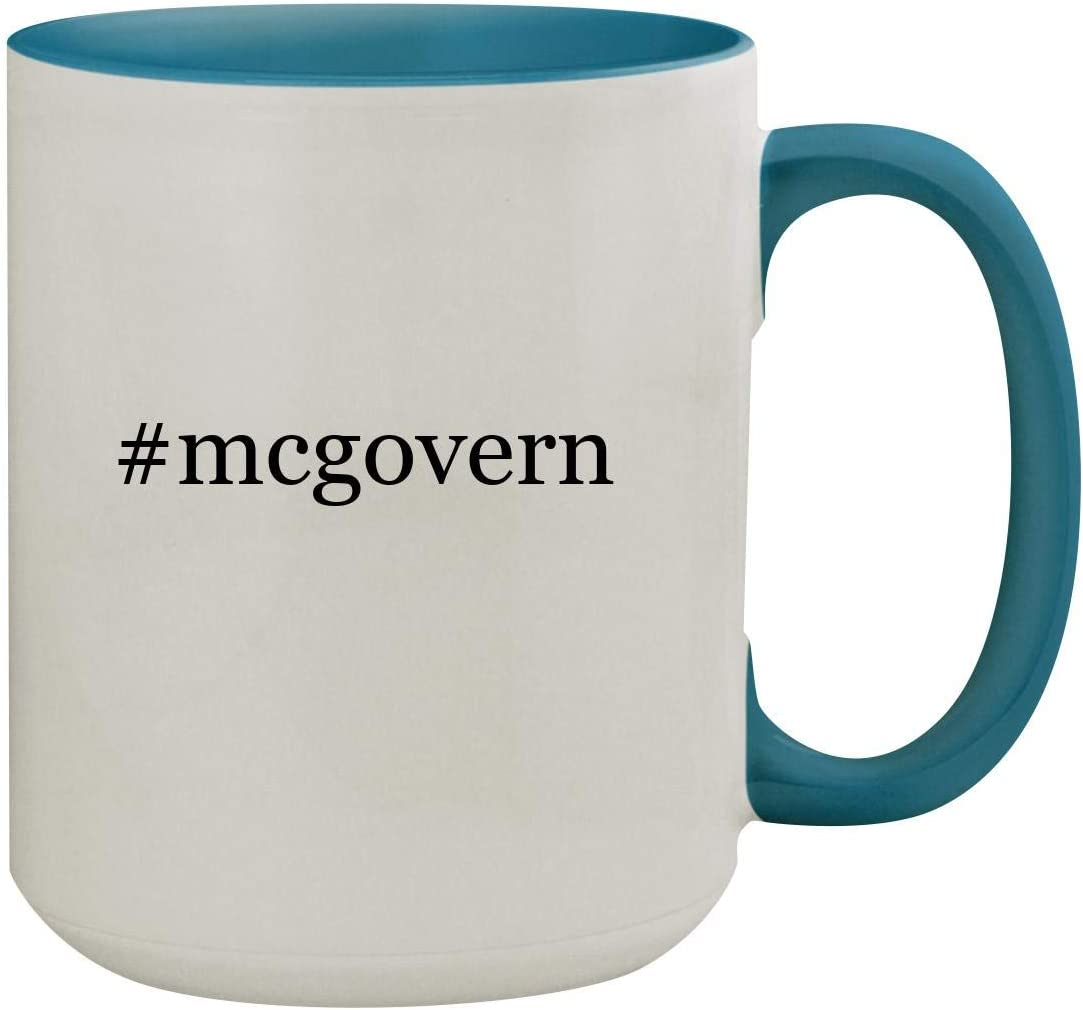 #mcgovern - 15oz Hashtag Ceramic Inner & Handle Colored Coffee Mug, Light Blue