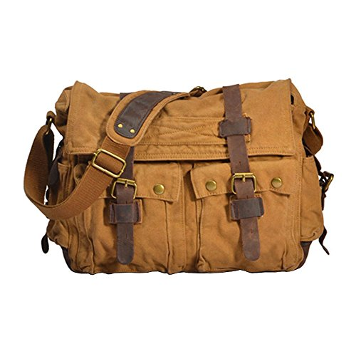 Shoulder Bags Vintage Sports Khaki Canvas Vrikoo Casual Green Crossbody Military Bag X Satchel Messenger large School army fRBRYw