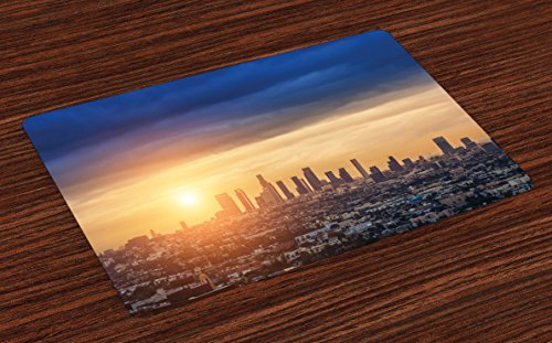 (Ambesonne City Place Mats Set of 4, Sunrise at Los Angeles Urban Architecture Tranquil Scenery Majestic Sky, Washable Fabric Placemats for Dining Room Kitchen Table Decor, Navy Blue Apricot Ivory)