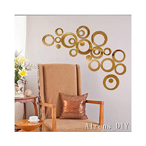 - Alrens_DIY(TM) 22pcs Rounds Dots Circles Mirror Surface Crystal Wall Stickers DIY Acrylic 3D Home Decal Living Room Murals Wall Paper Decor adesivo de parede-4 Colors (Gold)
