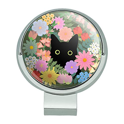 GRAPHICS & MORE Black Cat Hiding in Spring Flowers Golf Hat Clip with Magnetic Ball Marker