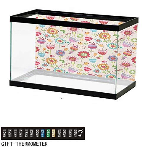 wwwhsl Aquarium Background,Floral,Cartoon Drawing Style Ladybug Strawberry Bird Caterpillar Vibrant Colored Characters,Multicolor Fish Tank Backdrop 24