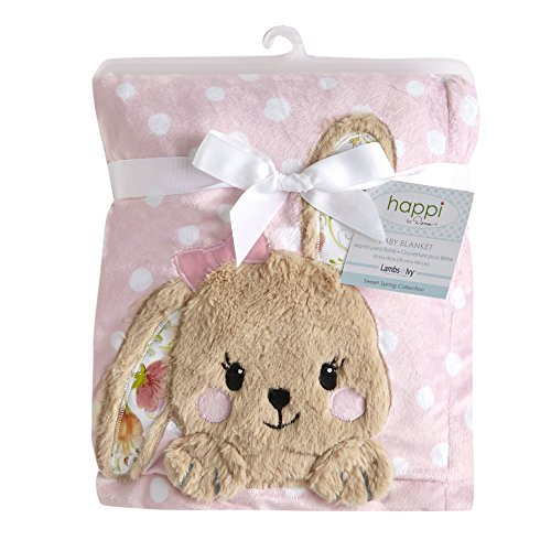 Floral Bunny - Happi by Dena Sweet Spring Floral Bunny Blanket, Pink/White
