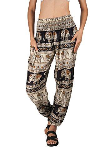 JOOP JOOP Bohemian Tapered Elephant Harem Loose Yoga Lounge - Embroidered Drawstring Pants