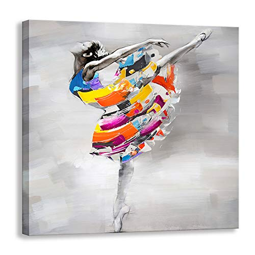 Modern Artwork Sexy African American Ballet Dancer Girl Misty Oil Paintings on Canvas Print Wall Art for Home Decoration Wall Decor (24 X 24 inch, Dancer - 02)