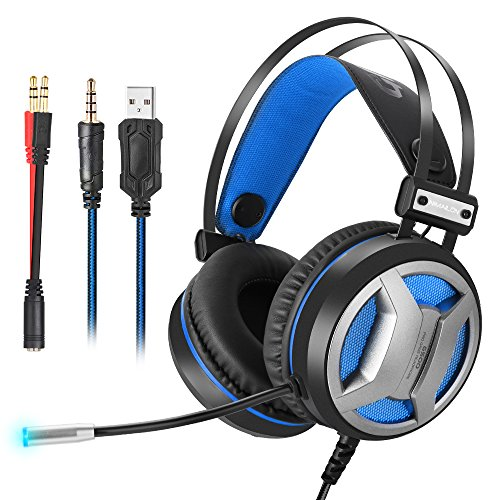 Gaming Headset PC Gaming Headphones for PS4 Xbox One, 3.5mm Newest 4D Super bass Stereo for Laptop, Nintendo Switch (Audio) LED Lights & Noise-canceling Microphone(Black+Blue