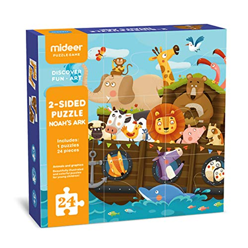 MiDeer Double-Sided Animal Matching Floor Paper Puzzles Education Jigsaw Puzzle Toys 24 Pieces Gift for Holiday Season-4 Early Learning Game -