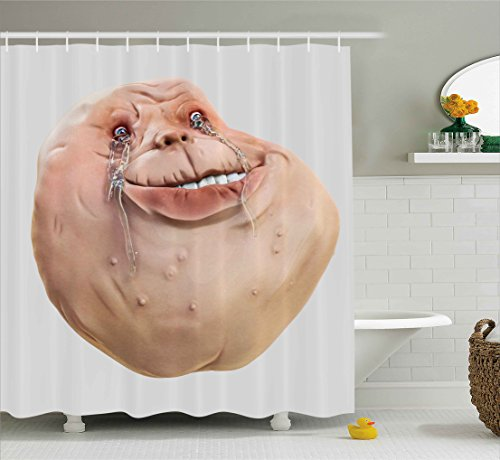 Humor Decor Shower Curtain by Ambesonne, Ugly Forever Alone Rage Internet Meme Online Chat Communication Emoji Art Print, Fabric Bathroom Decor Set with Hooks, 75 Inches Long, Tan Peach (Shower Curtain Ugly)