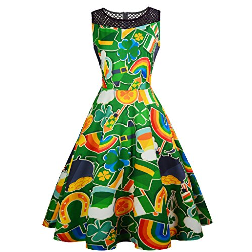 Taiduosheng Women's ST.Patrick's Day Dress Vintage Evening Party Cocktail Dress Hollow Out Green Print A Line Dress M -