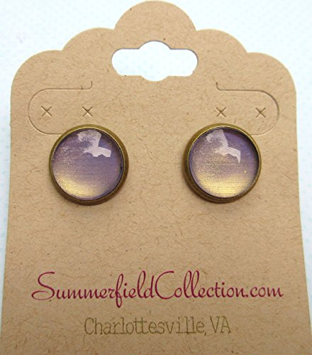 Antiqued Gold-tone Metallic Purple Color Shifting Glass Stud Earrings Hand-painted 12mm